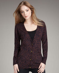 Marc By Marc Jacob Leopard Print Purple Cardigan - Joyce's Closet  - 1