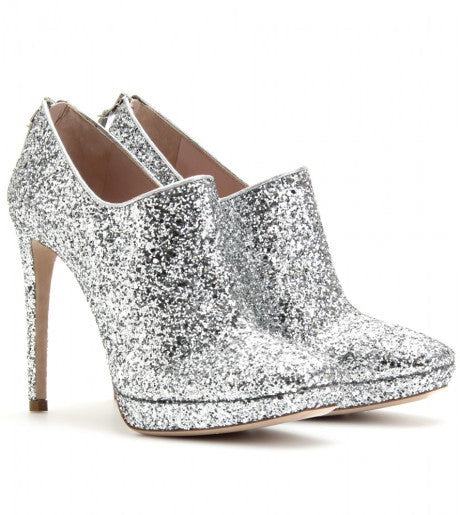 Brand New Miu Miu Argento 130 Silver Glitter Ankle Booties - Joyce's Closet  - 1