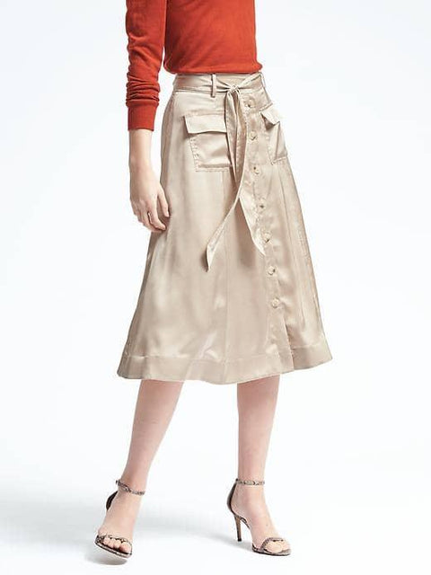 Banana Republic Biege Button Front Midi Skirt Size 6