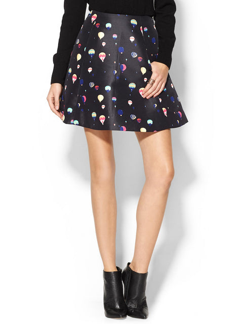 Kate Spade Black Hot Air Balloon Print Skirt Size 4