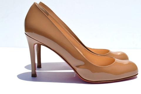 Christian Louboutin Simple Nude Patent Leather Round Toe Pump - Joyce's Closet  - 1