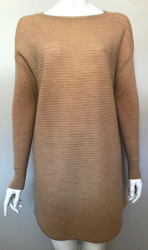 Tahari Beige Long Sleeve Sweater Dress Size M