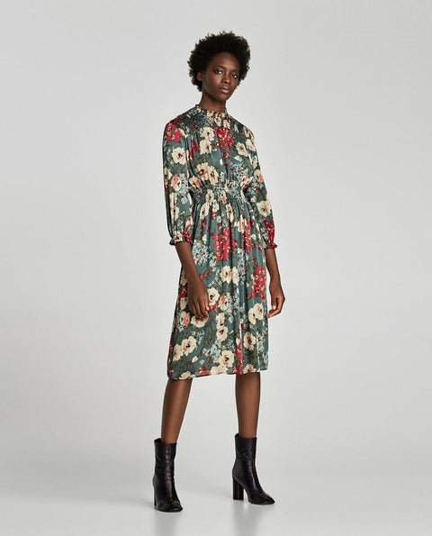 Brand New  Zara Green Floral Midi Dress Size M