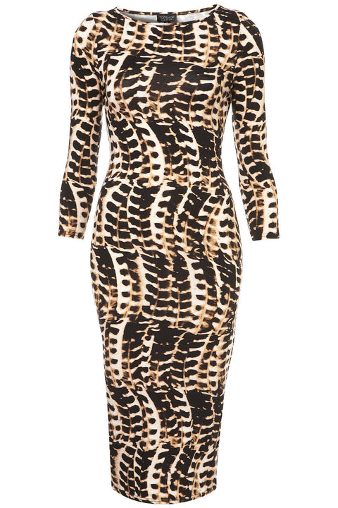 Topshop Animal Print Bodycon Midi Dress Size 8