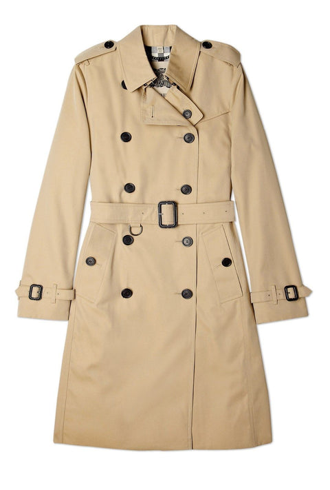 Burberry Brit Taupe Double Breasted Long Trench Coat - Joyce's Closet  - 1