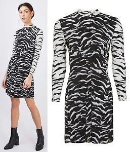 Topshop Black & White Zebra Print Dress Size 10