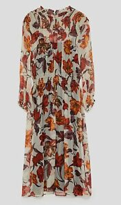 Brand New Zara Floral Print Midi Dress Size M
