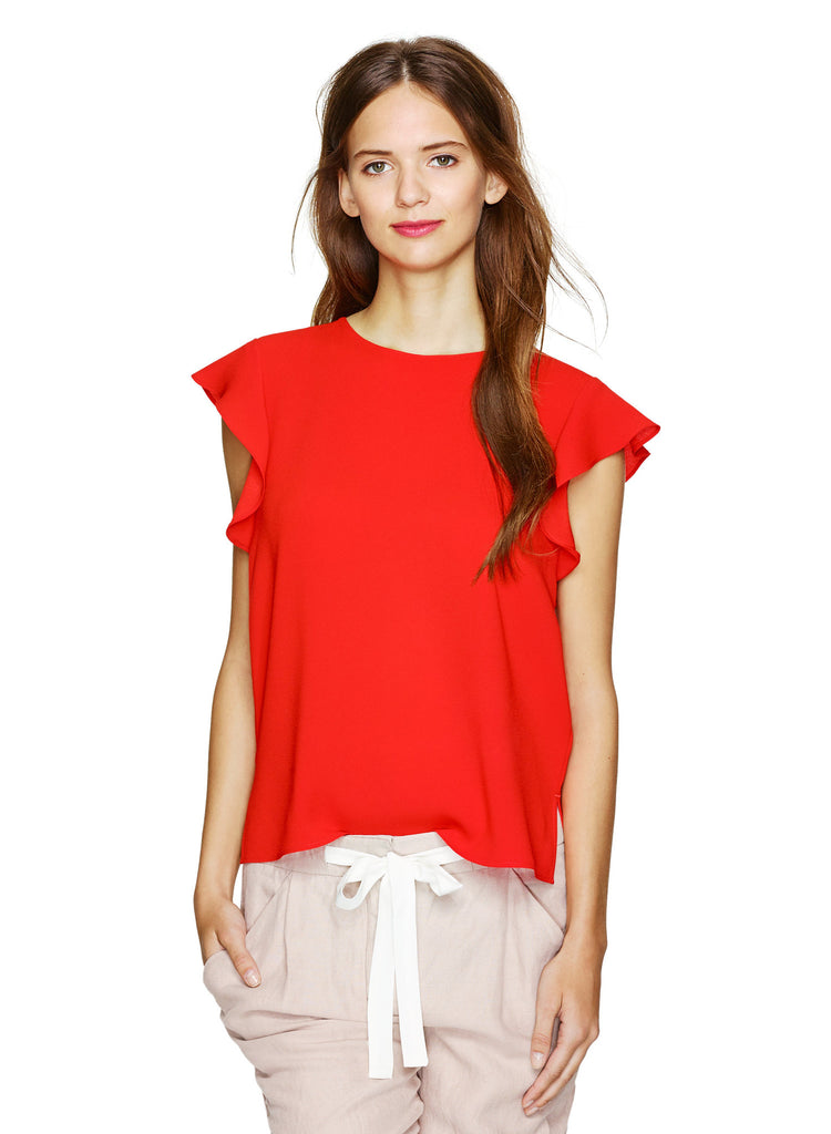 Wilfred Orange Chaplin Ruffle Blouse - Joyce's Closet  - 1