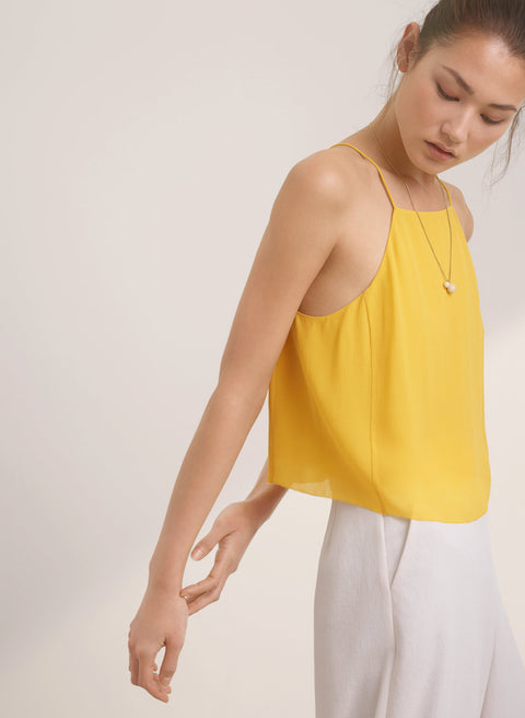 Wilfred Rians Yellow Crop Silk Tank Size S