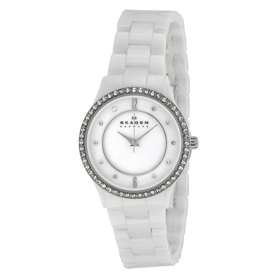 Skagen White Ceramic Glitz Ladies Watch - Joyce's Closet  - 1