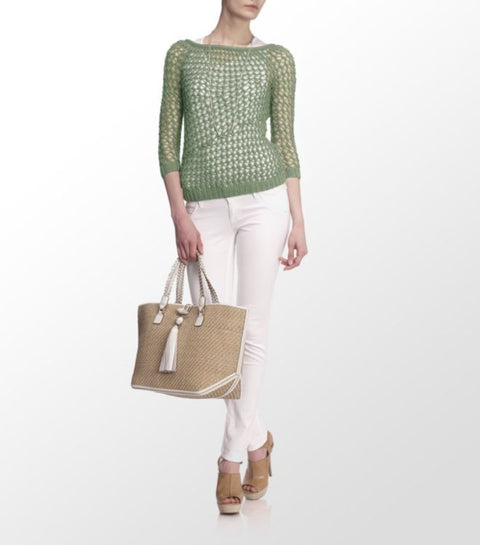 Theory Green Nimue Open Knit Sweater - Joyce's Closet  - 1