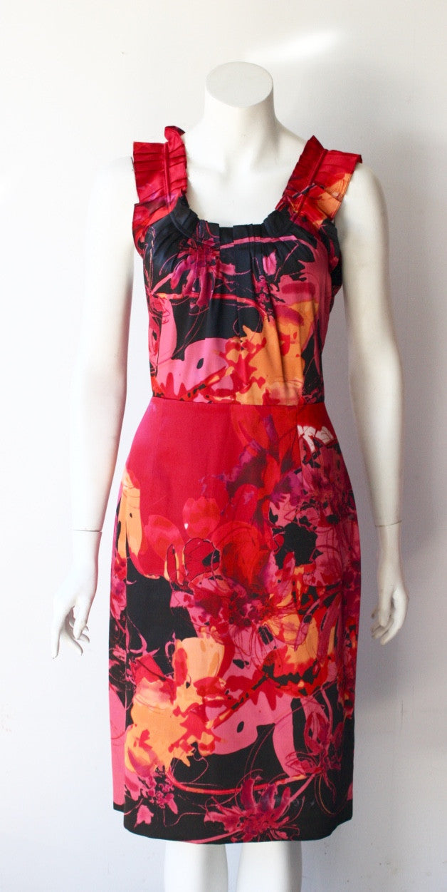 T. Tahari Red Printed Sleeveless Dress - Joyce's Closet  - 1