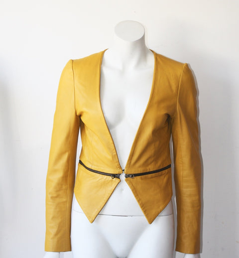 Bano eeMee Mustard Yellow Leather Jacket - Joyce's Closet  - 1