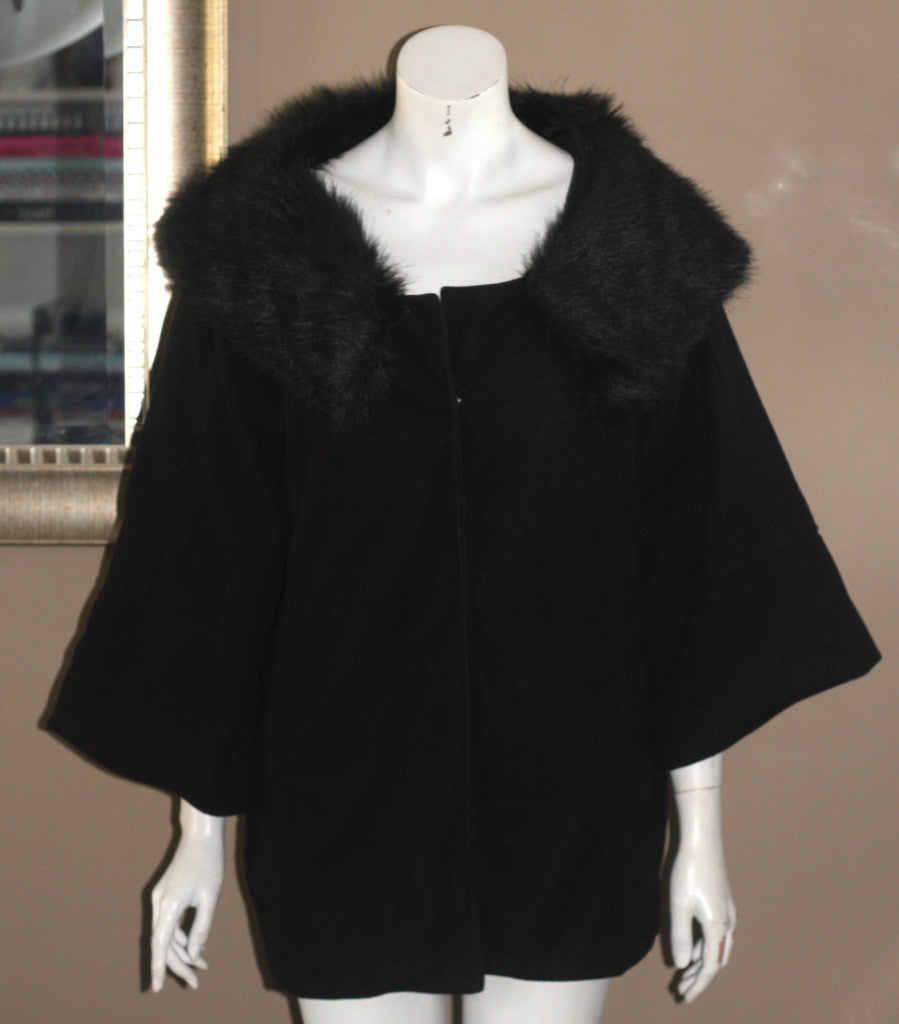 Funky People Black Faux Fur Collar Cape Coat - Joyce's Closet  - 1