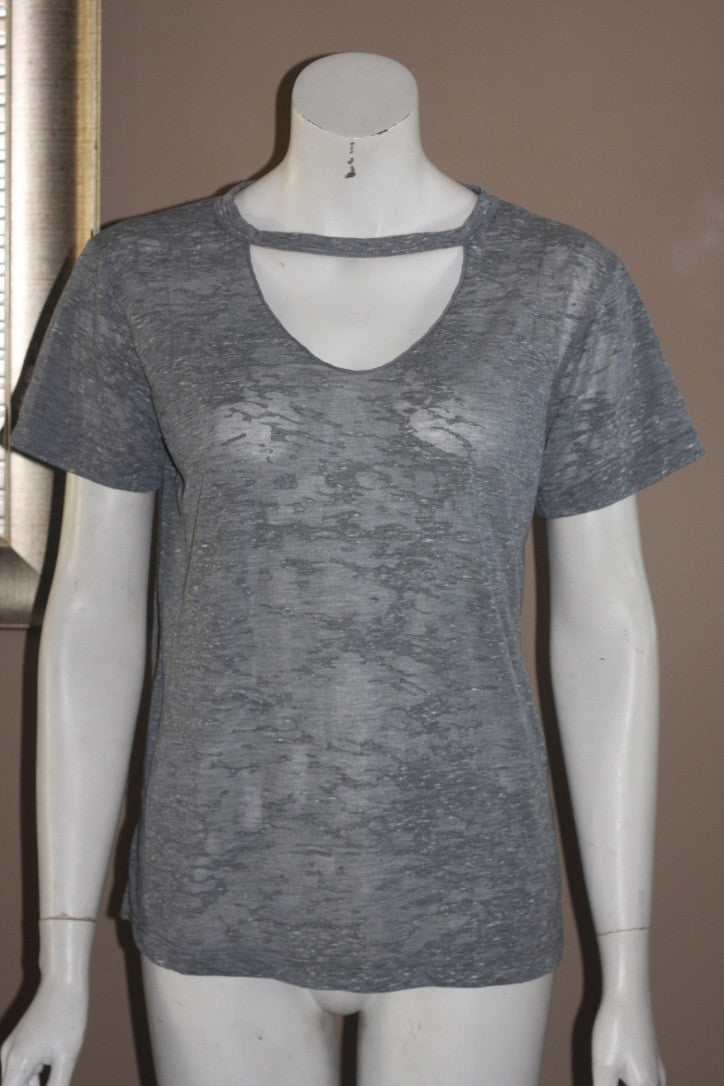 LNA Grey Slub Knit Tee Shirt - Joyce's Closet