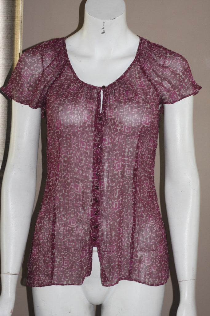 Banana Republic Maroon Printed Button Up Blouse - Joyce's Closet  - 1