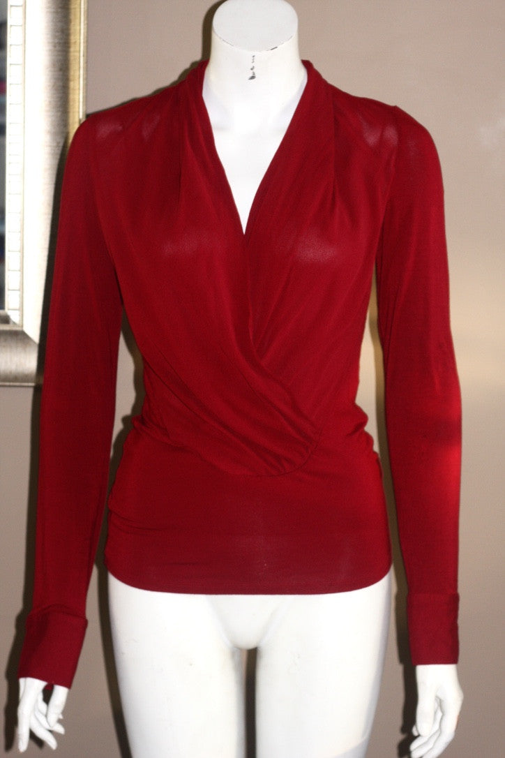 Guess by Marciano Maroon Sheer Long Sleeve Blouse - Joyce's Closet  - 1