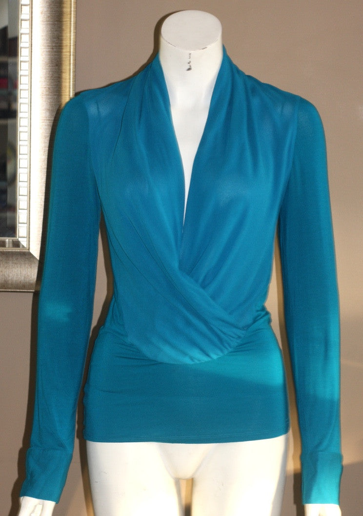 Guess by Marciano Blue Sheer Long Sleeve Blouse - Joyce's Closet  - 1