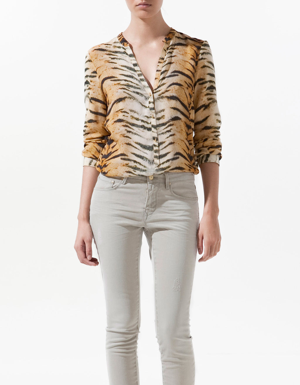 Zara Long Sleeve Tiger Print Chiffon Blouse Size XL