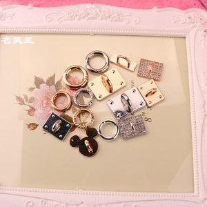 DIY Accessories dog bunny metal keychain tassel key chain ring holder mobile phone shell bag pendant metal hook alloy part