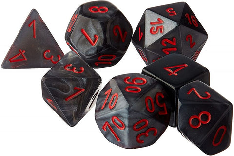 Chessex Dice 7 Polyhedral Dice Set Velvet Black/Red