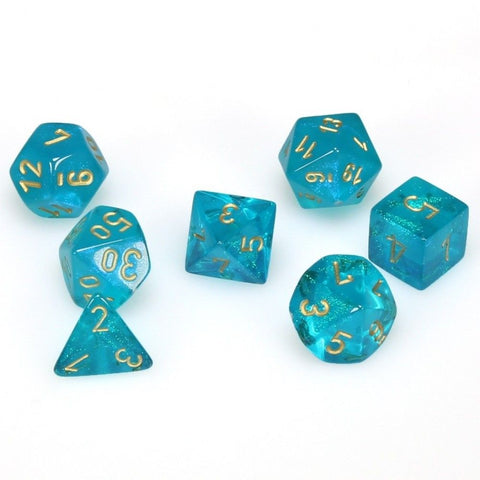 Chessex Dice 7 Polyhedral Dice Set Borealis Teal/Gold