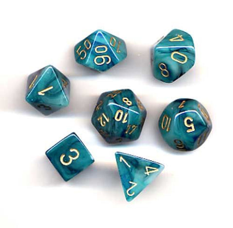 Chessex Dice 7 Polyhedral Dice Set Phantom Teal/Gold