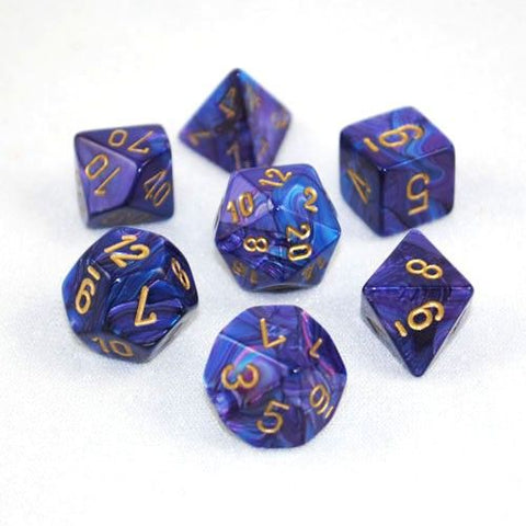 Chessex Dice 7 Polyhedral Dice Set Lustrous Purple/Gold