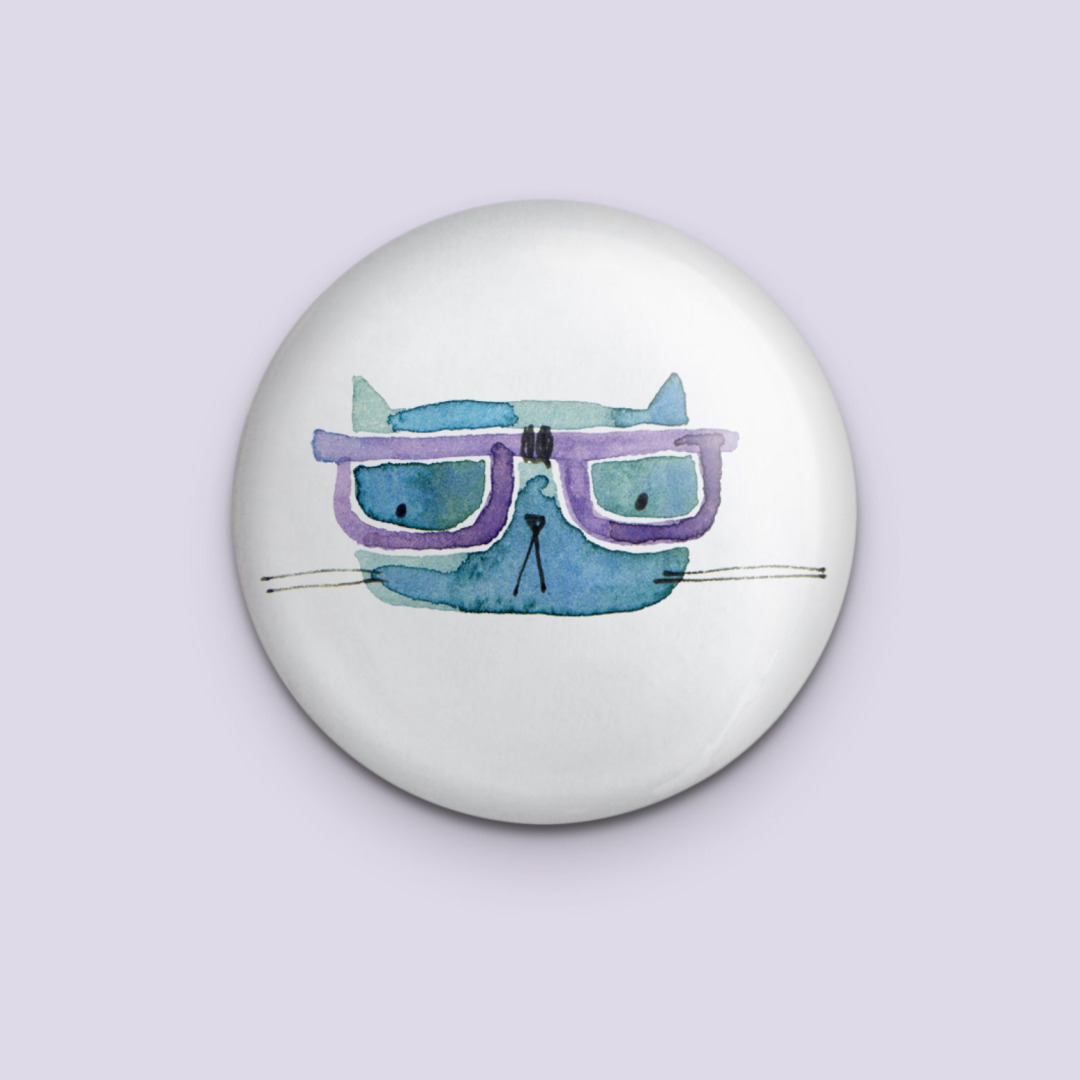 Cool Cat with Purple Glasses Pin
