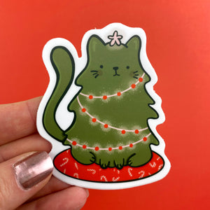 Cat-mas Tree Vinyl Sticker