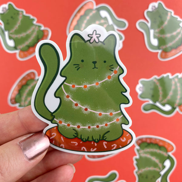 Cat-mas Tree Holographic Vinyl Sticker