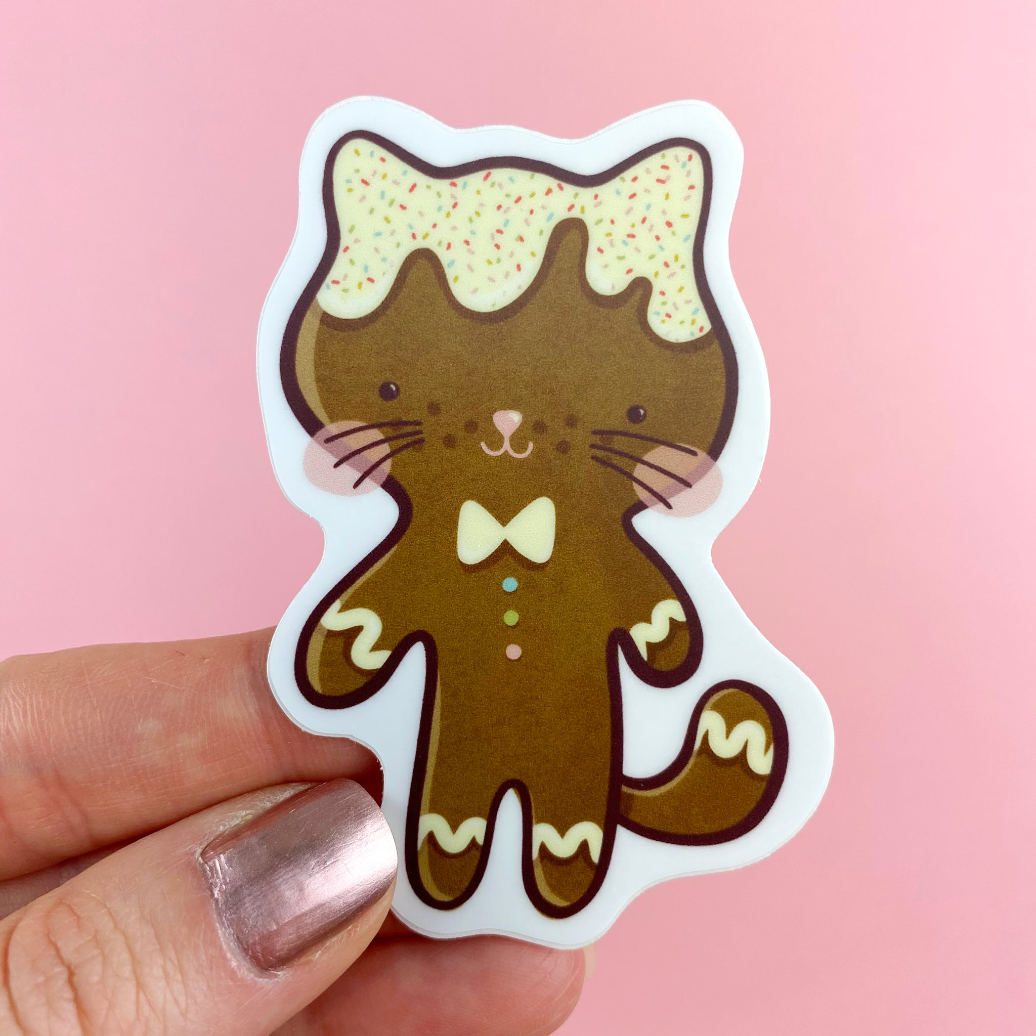 Gingerbread Cat Vinyl Sticker