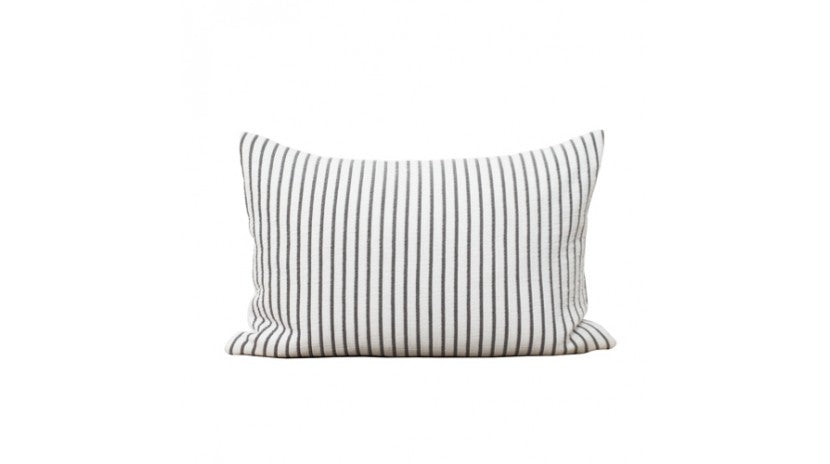 grey and white striped cotton cushion with feather filling