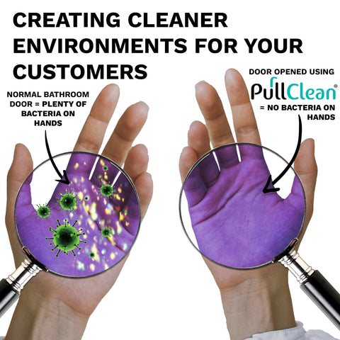 Image showing the comparisons of germs on a pair of hands after touching a contaminated surface with and without using hand sanitiser afterwards