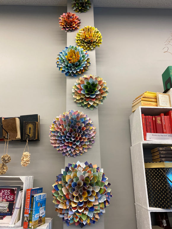 Flowers made from Dolly Parton Books
