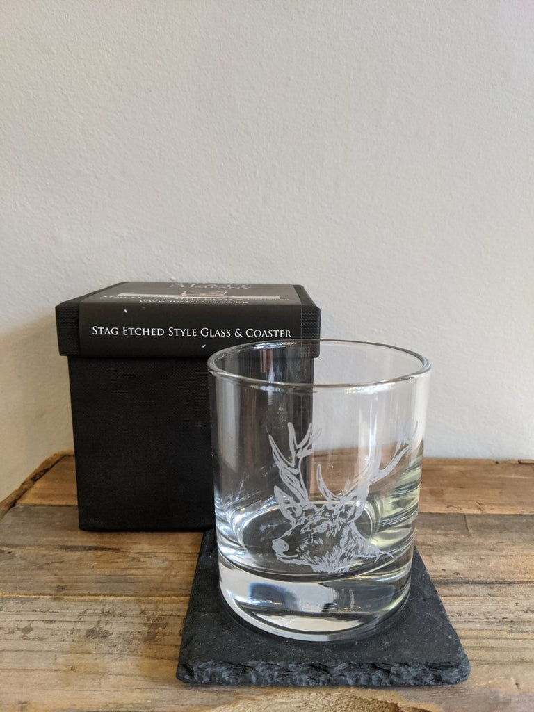Stag Etched Glass and Coaster Set - The Cove
