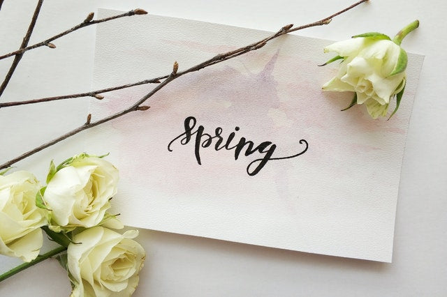 white printed paper that says spring with four white roses and branches
