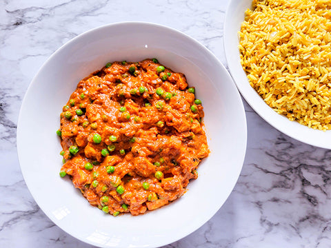 Paneer Butter Masala with Pulao - Style Rice and Lentils