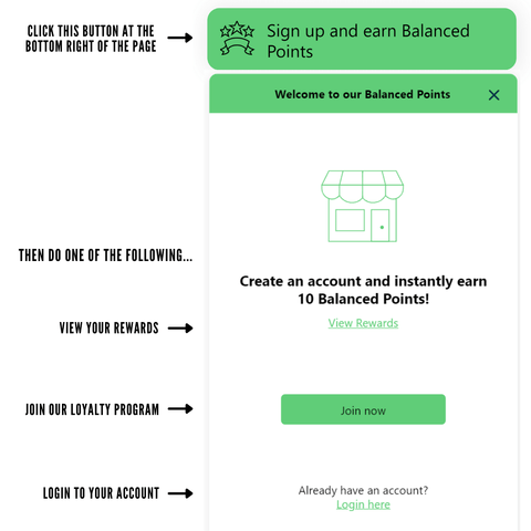 Steps to sign-up for Balanced Points, login to account and view rewards.