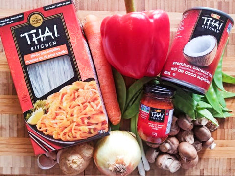 ingredients for Thai red curry noodles with vegetables