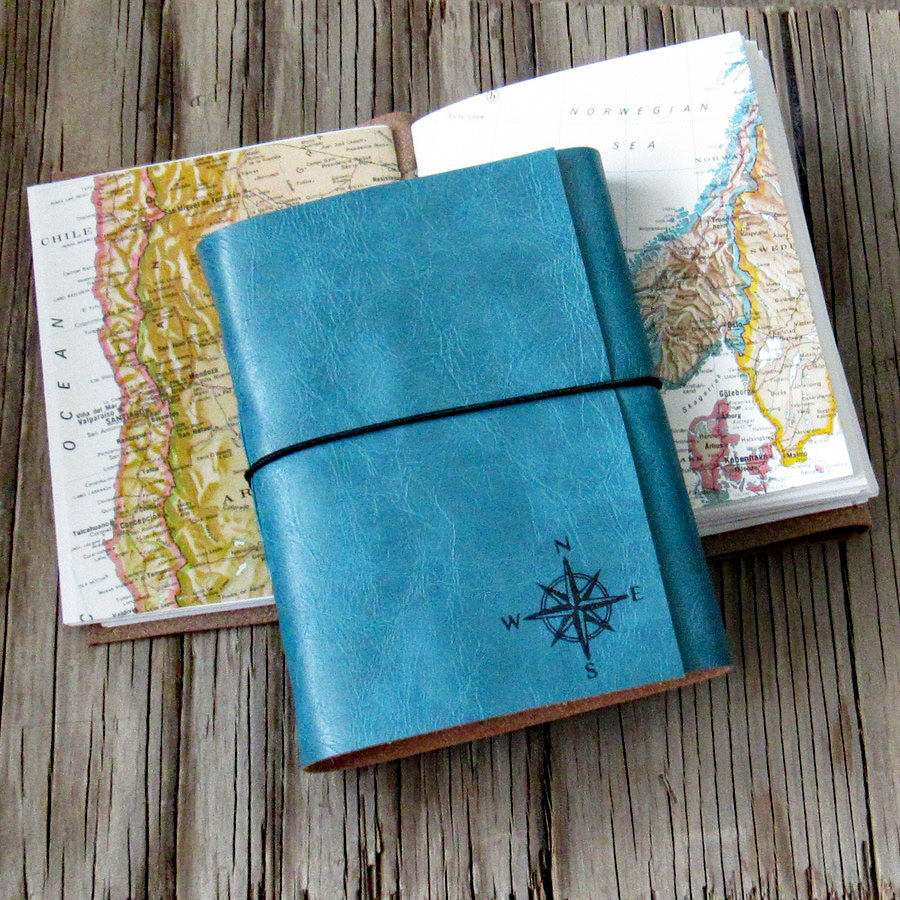 explorer travel journal, blue faux leather with maps - tremundo