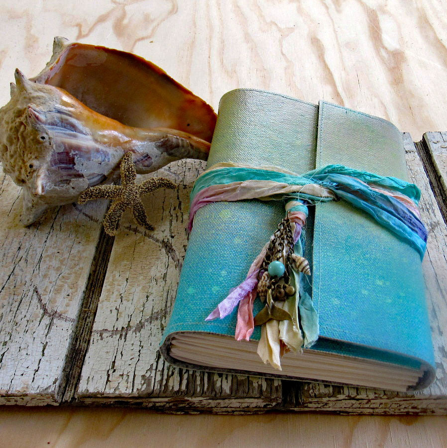 mermaid journal - handmade, hand painted journal - tremundo
