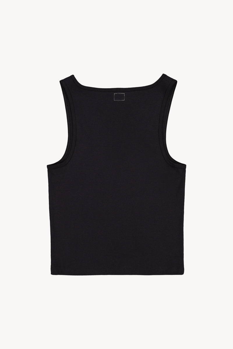 FM 669 Ribbed David Tank Black Back