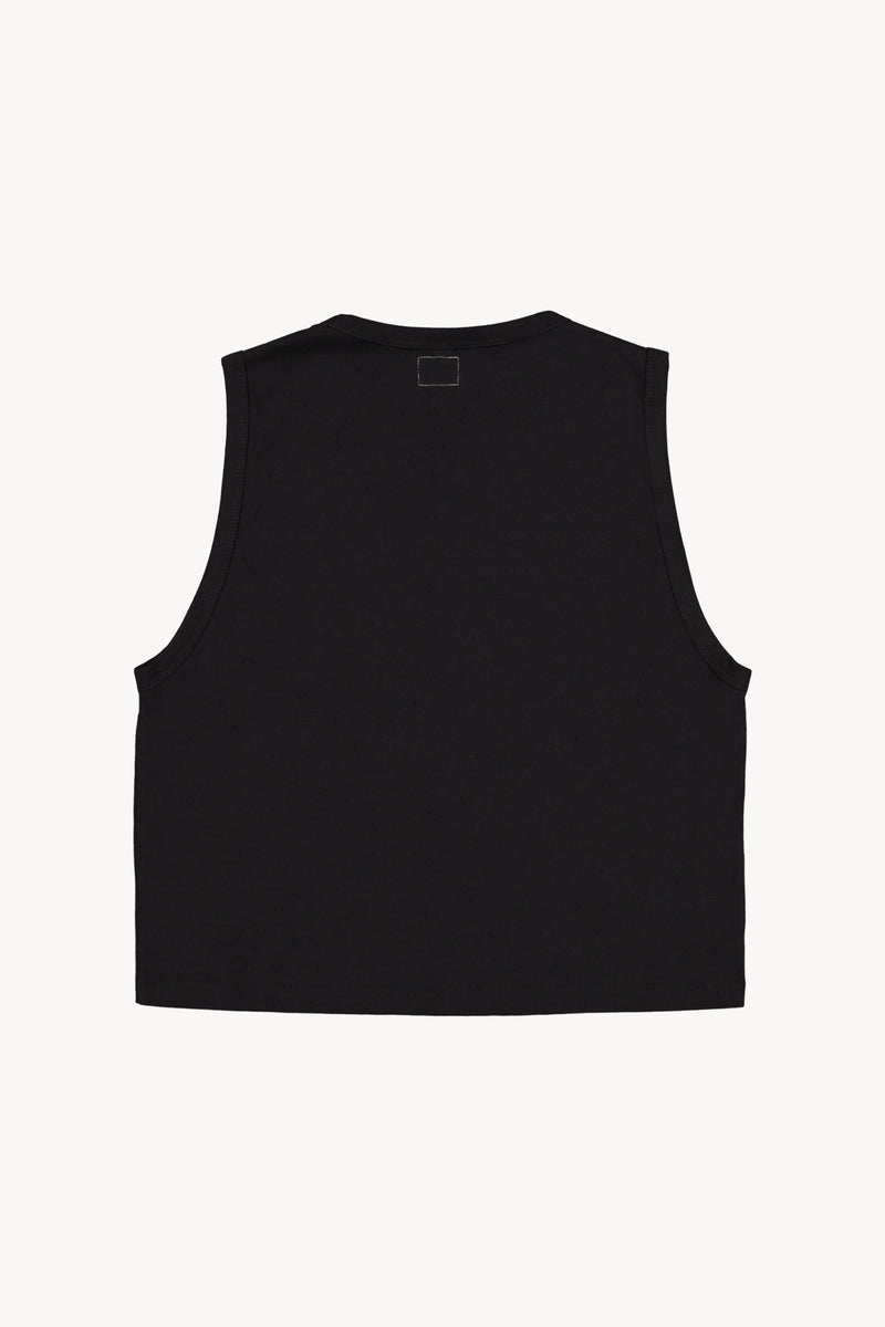 FM 669 Cropped Sleeveless Tank Black Back