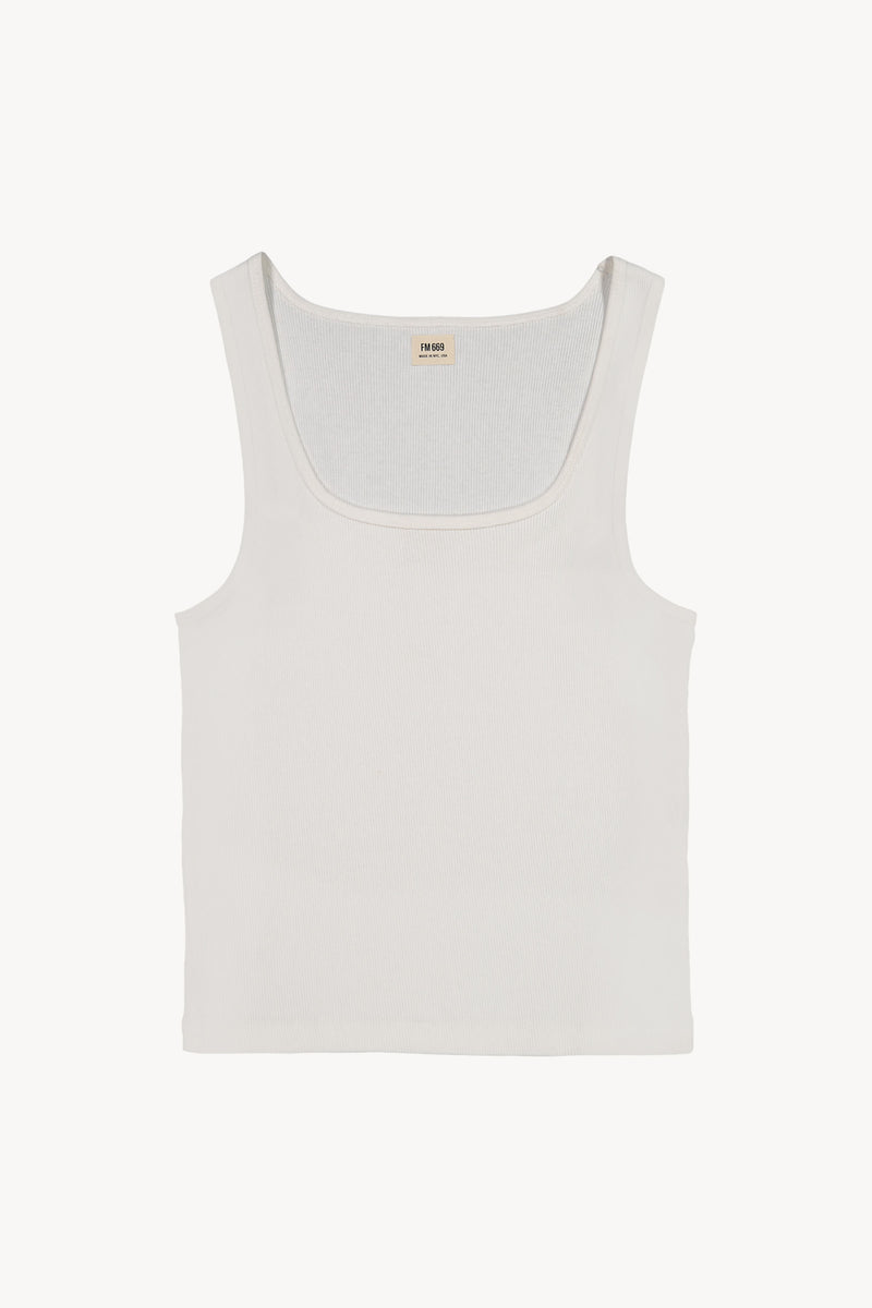 FM 669 Ribbed David Tank White Front