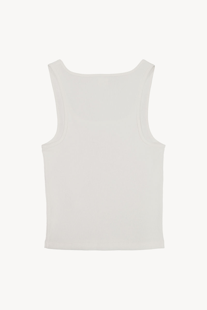 FM 669 Ribbed David Tank White Back