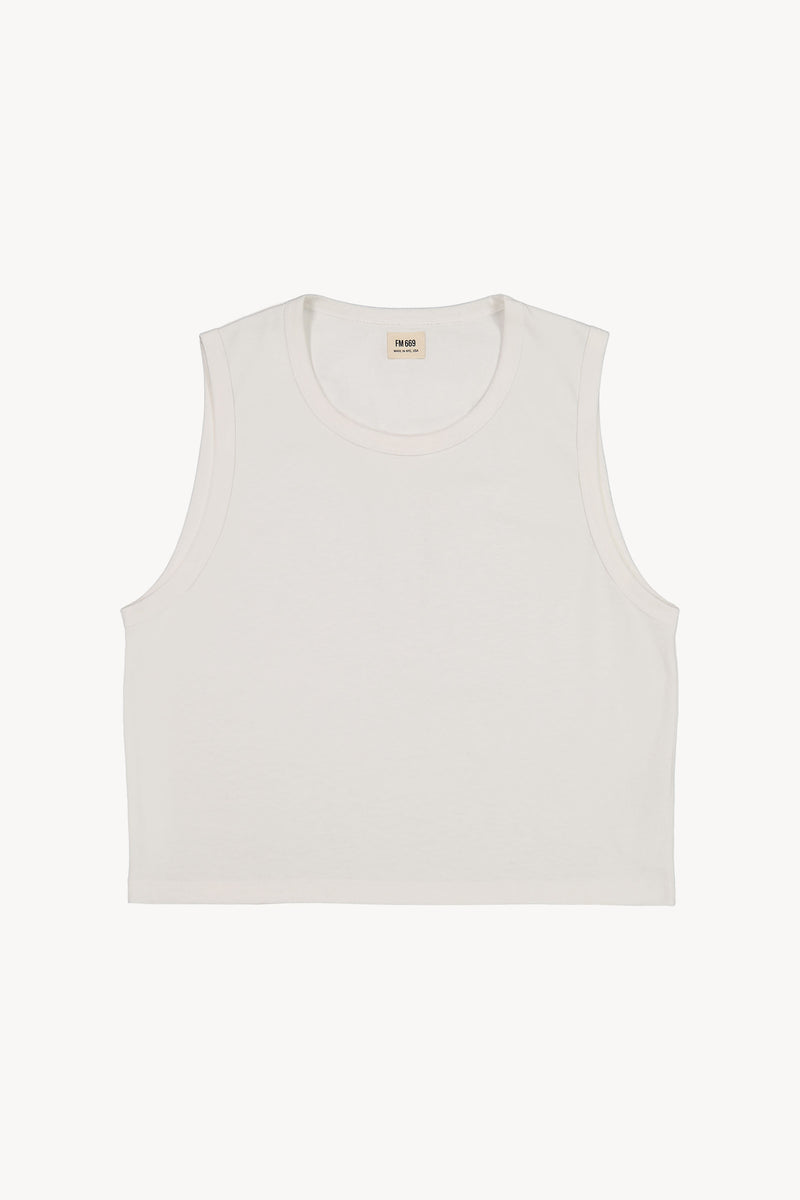 FM 669 Cropped Sleeveless Tank White Front