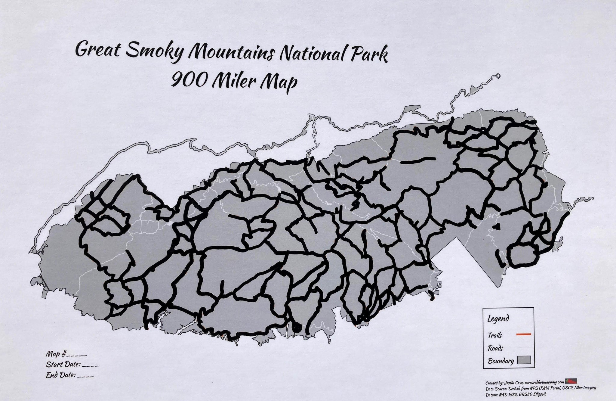 "Smokies 900 Miler Rocky Top 12""x18"" - Redhot Mapping"
