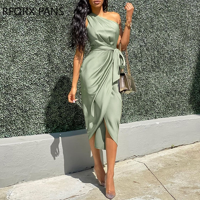 One Shoulder Ruched Design Party Dress-Ladies Green