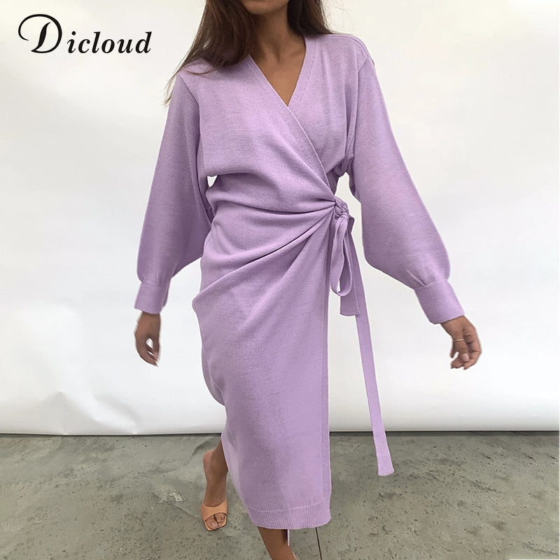 Long Women Knitted Wrap Dress